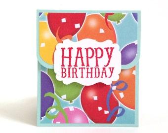 Birthday Gift Card Holder - Birthday Money Envelope - Party Gift Card Carrier - Balloon Birthday Money Card - Happy Birthday Card - Giftcard
