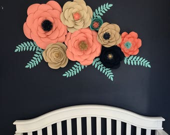Paper flowers, flower backdrop, 3D flowers, wall flowers, Giant paper roses - SET OF 8 FLOWERS