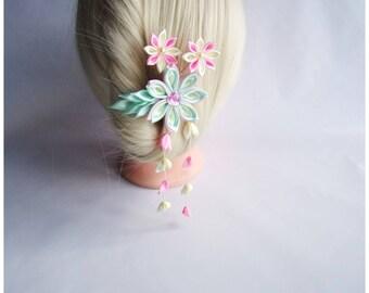 Hair pin with kanzashi flowers/Satin hair stick/Wedding hair accessory/Kanzashi head piece/Wedding hair pin