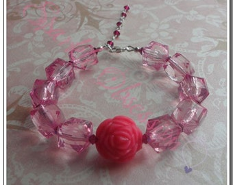 Swarovski Crystal and Lucite Rose Bracelet