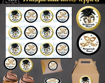 Masquerade Cupcake Toppers- Masquerade Stickers-Masquerade Party-Masquerade Favors-Masquerade labels-Masquerade tags-Carnival labels-DIY