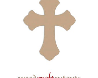 12 inch Unfinished Wood Cross Cutout Shape