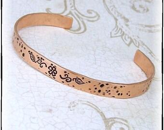 Flower Garden Hand Stamped Copper Metal Bracelet Cuff