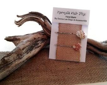 Seashell Hair Pins, Florida Beach Wedding, Mermaid Beach Hair Accessories, Natural Seashell Bobby Pins, Gift for Bridesmaid or Flower, Girl