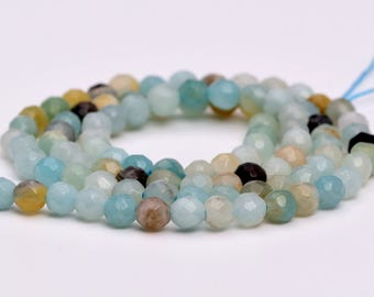 "4MM Faceted Amazonite Natural Gemstone Full Strand Round Loose Beads 15"" (100881-318)"