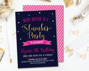 Slumber Party Birthday Invitation - Girls Sleepover Birthday - Pajama Party Printable Invitation