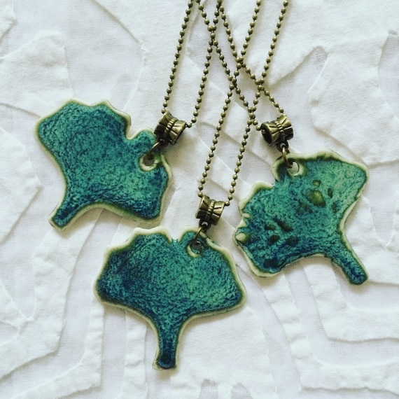 Ginkgo Leaf Jewelry, Ginkgo leaf necklace, teal green, porcelain jewelry, pottery pendant, ceramic necklace, bridesmaid favor, emerald green