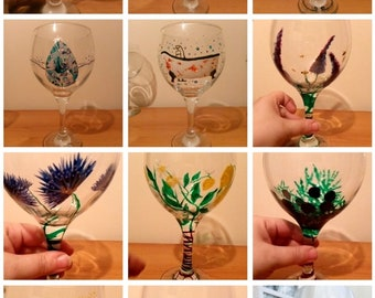 Hand painted dishwasher safe Wine/ Gin/ tumbler/ stemless  glass- various designs available