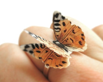 3D Butterfly Cheetah Ring Cheetah Print Accessory Cheetah Costume Womens Silver Animal Print Jewelry African Ring Ethnic Ring