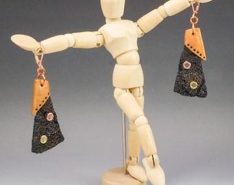 Dangle Earrings - Black Copper Industrial Steampunk Rivet Ruched Gauze Fiber No. 191