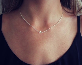 Delicate Herkimer diamond necklace, silver necklace, meaningful jewelry, best friend gift, gift for her