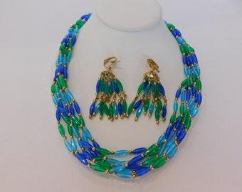 1960s Wonderful Summertime Vintage Demi Parure - Multi Strand Necklace and Tassle Earrings (Clip on or Pierced) Very Vintage Demi Parure