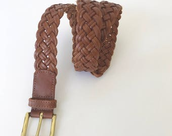 Women's size small brown leather braided belt