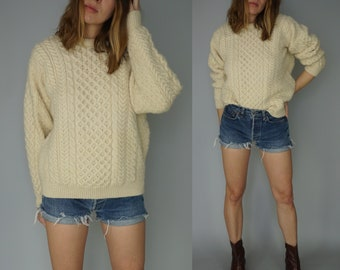 Vintage Fisherman Sweater Pullover | 70s 80s Chunky Knit Sweater | Carraig Donn Made in Ireland | Irish Wool Sweater Off White Beige | S M