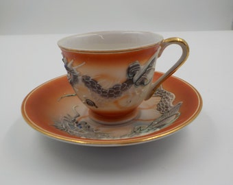 Vintage - Dragon Tea Cup and Saucer - Ornate - Hand Painted -Relief Pattern - Made in Japan