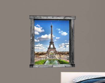 Eiffel Tower Window Vinyl Wall Print ~ PERSPECTIVE002