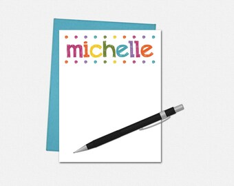 Personalized Note Cards - Set of 10 - Flat Note Cards - Stationery for Her - Personalized Colorful Lights Note Cards - Note Cards for Her