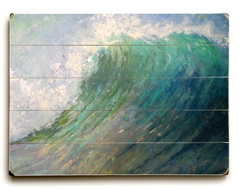 Seascape Painting, Giclee Print on Wood, Breaking Wave Painting, Choose Your Size, Ready to Hang, Free Shipping, No Frame Required