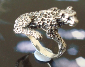 Solid 925 Sterling Silver Leopard Ring