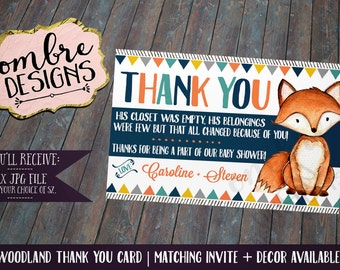 Woodland Baby Shower, Thank You Card, Decorations, Woodland Party, Forest Friends, First Birthday, Tribal, Fox