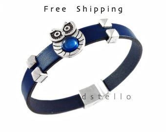 Fathers day gifts, Owl bracelet women, Owl jewelry, Custom leather bracelet, Anniversary gifts - Bird, Lucky owl blue resin, Birthday