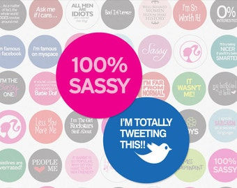 SASSY WOMEN PHRASES - 1 Inch Circle Digital Collage Sheet for Hair Bow Centers, Magnets and More (Instant Download No. 244)