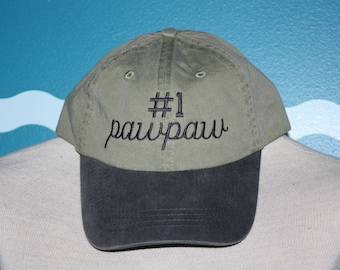 PawPaw Baseball Cap - Embroidered Hat - Custom Ball Cap - Number 1 PawPaw Hat - Custom Embroidery - PawPaw Gift - Grandparents Day