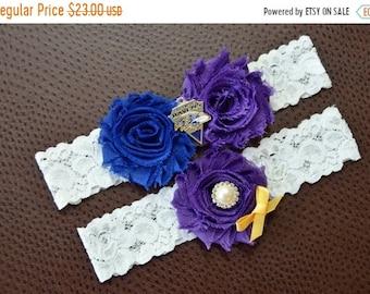 ON SALE Baltimore Ravens Wedding Garter Set, Ravens Garter,Baltimore Ravens Bridal Garter Set, White Lace Wedding Garter, Football Wedding G