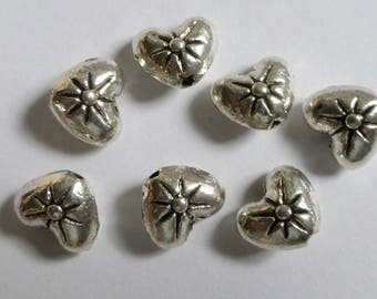 Vintage Antique Silver Double Sided Puffed Heart Beads  7x8mm  (6)