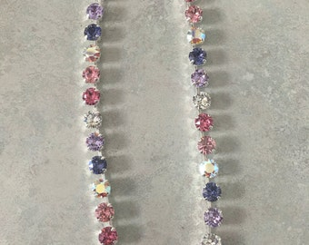 Mix of purple ans pink swarovski crystals