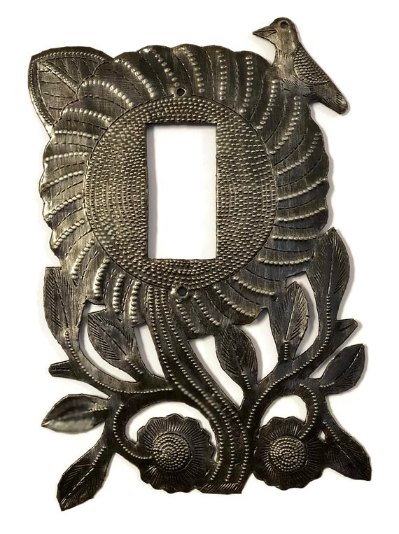 "Lighting, Folk Art Sunflower Rocker Cover Recycled Metal Made in Haiti, 5"" x 9.5"""