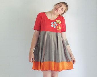 Flower Flirt - unique Summer Dress - XL - individually made by kathrin k. -  OAK -  cotton