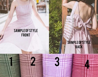Summer Dress Plaid Dress Back Bow Vintage Sundress Cotton Dress Spaghetti Strap Swing Dance Dress Novelty dress -4 color choices