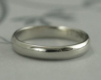 14K White Gold Wedding Band-4mm Rounded Plain Jane Wedding Ring-Gold Wedding Band-Wide Gold Band--Handmade Wedding Ring