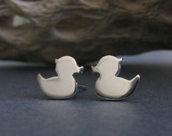 Rubber Duckie sterling silver stud earrings. Small duck bird post jewelry.  14k gold filled & solid 14k yellow gold available.
