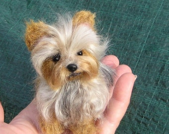 Custom Pet Portrait / Miniature of your Pet  / Needle Felted Yorkie / Handmade Poseable Art Sculpture Personalized Gift