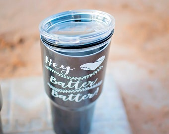 Baseball Steel Tumbler, Hey Batter Batter, Baseball Mom, Tumbler