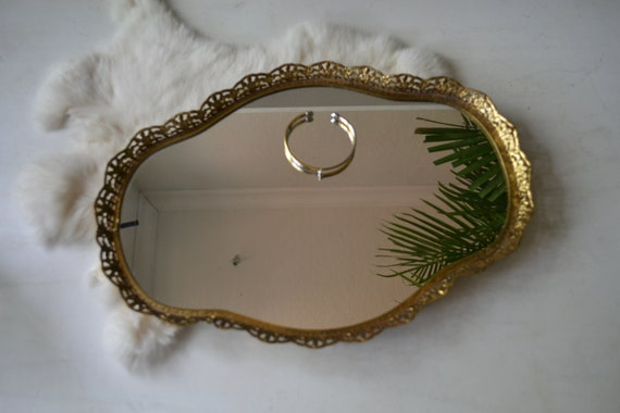 Vintage Brass Mirror Perfume Jewelry Tray Boho/Hollywood Regency/Glam/Victorian/Eclectic/Wedding/Home Decor by Etsy