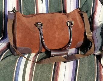 Vintage Duffle Bag Brown Suede Leather Travel Bag Man Bag Sports Bag Overnight Leather High Desert Style Urban Mens Street Bag