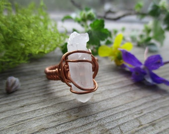 Clear quartz raw crystal point wire wrapped ring size 6.5, pure copper, raw quartz ring, quartz wire wrap ring, rough crystal point ring