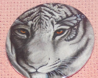 CLEARANCE, Seconds stock, Tiger Needle Minder, Licensed, Cross Stitch Keeper, Danielle Trudeau Art, Fridge Magnet, Button Magnet, Pin Holder