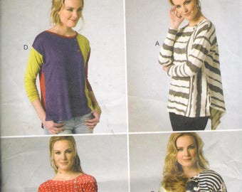 """Butterick 6218, Sz 8-16/Bust 31.5-38"""".  EASY Color Block Knit Top/Katherine Tilton pattern, directions in English/French"""