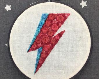 Floral Pop Aladdin Sane Hand Embroidery - Original 4 inch Needlework Fan Art