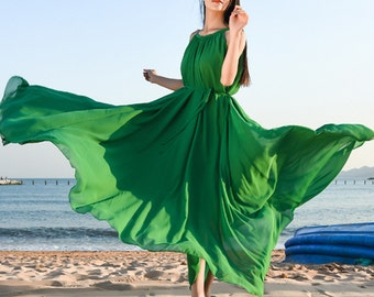 Women chiffon dress sleeveless long dress flowy maxi dress evening dress party dress plus size clothing summer dress