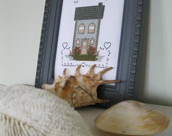 The small houses, summer - card/grid to cross-stitch