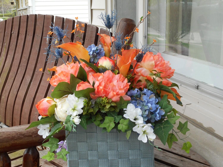 Coral And Antique Blue Silk Flower Table Arrangement Or Altar