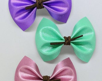 """Pastel Shimmer Hair Bow-Alligator Clip-Baby Headband-Photo Prop-Faux Leather-Toddler Hair Accessories-4"""" Hair Bow"""