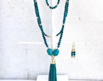 Tassel necklace - Beaded tassel necklace - Leather tassel necklace