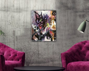 Abstract Painting Original Modern Art Urban Canvas Wall Art Decor Artwork Contemporary Painting Abstract Expressionist Graffiti Painting
