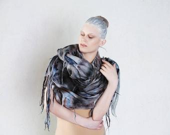 Felted Shawl, wool felted Wrap, Extra long felted Scarf, Handmade felted Scarf, Unique Scarf, Hand dyed Huge Shawl